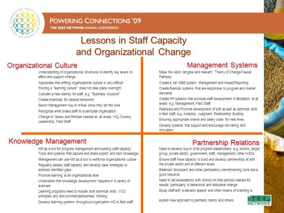Lessons in Staff Capacity and Organizational Change