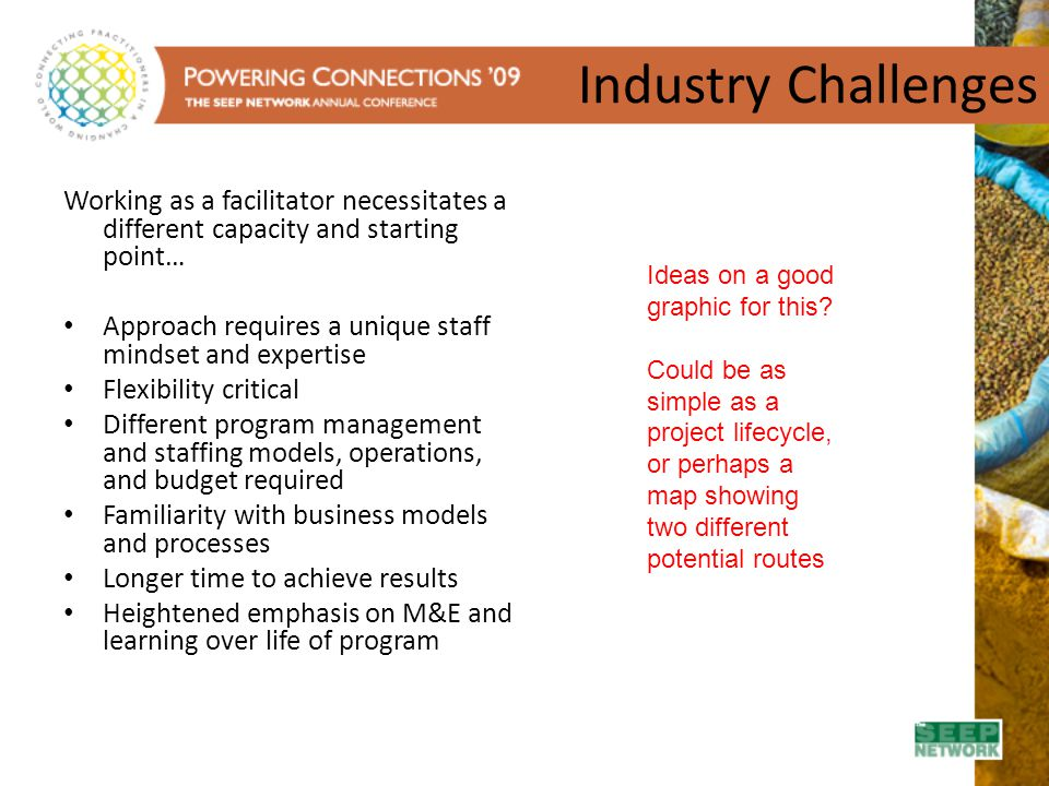 Industry Challenges Working as a facilitator necessitates a different capacity and starting point…