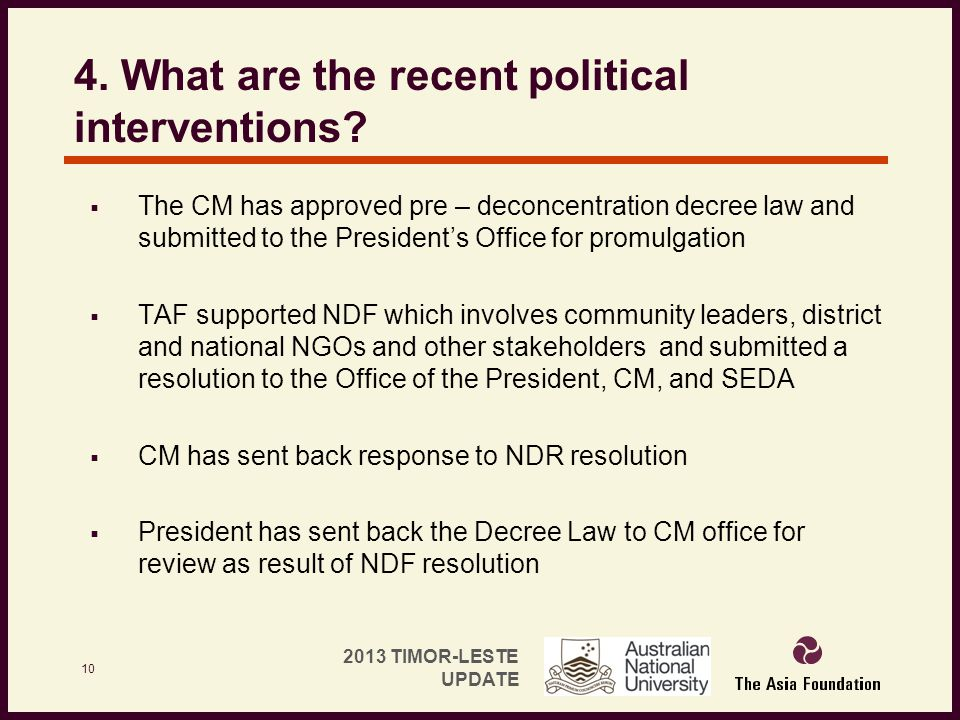 4. What are the recent political interventions