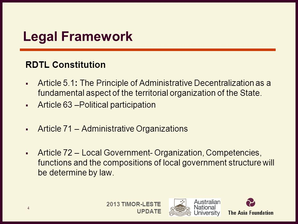 Legal Framework RDTL Constitution