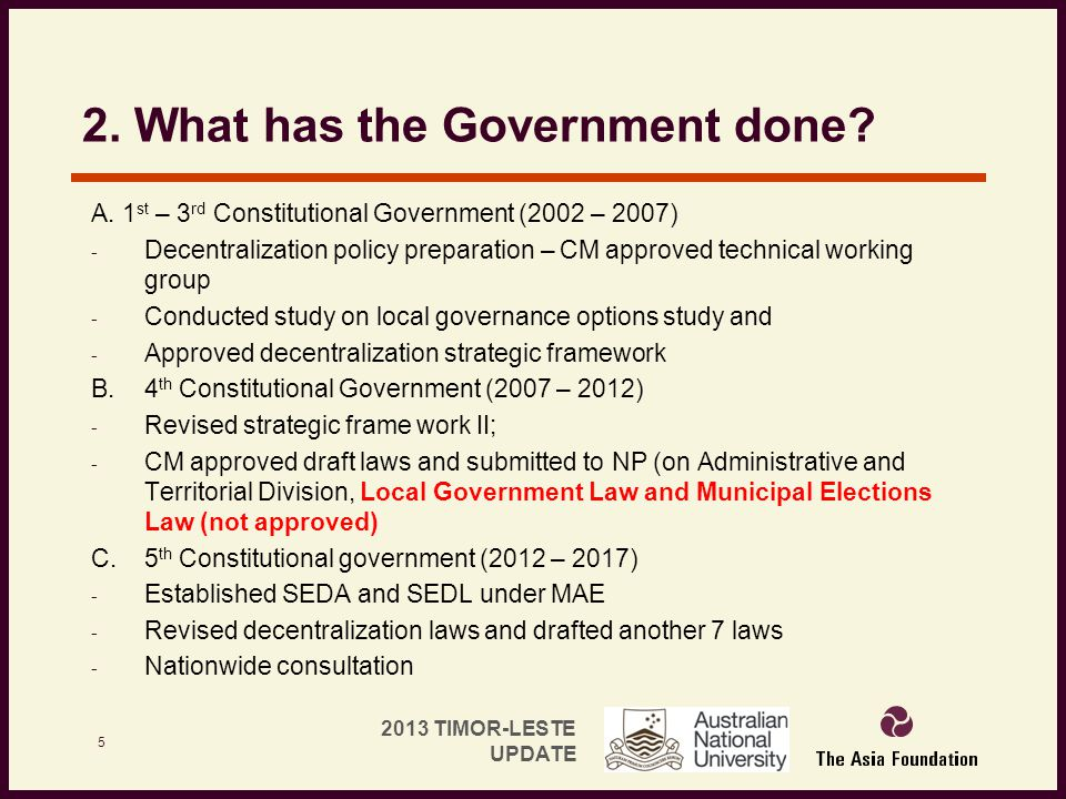 2. What has the Government done