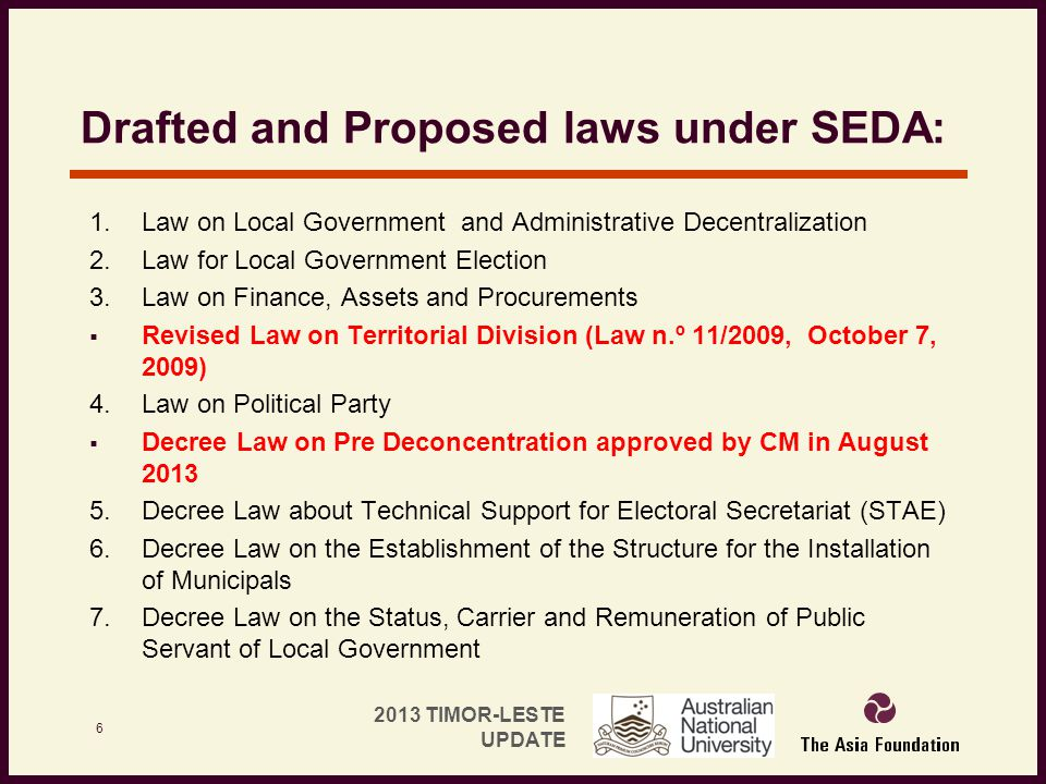 Drafted and Proposed laws under SEDA: