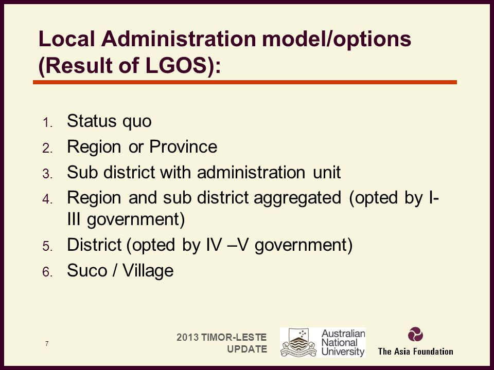 Local Administration model/options (Result of LGOS):