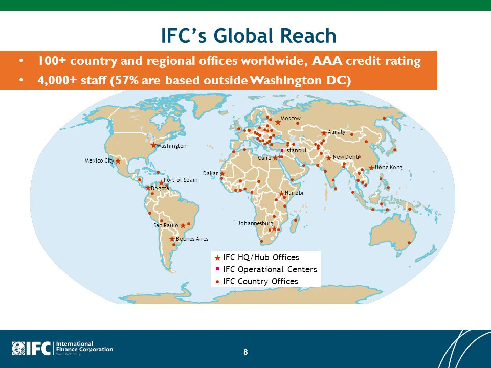 IFC's Global Reach 100+ country and regional offices worldwide, AAA credit rating. 4,000+ staff (57% are based outside Washington DC)