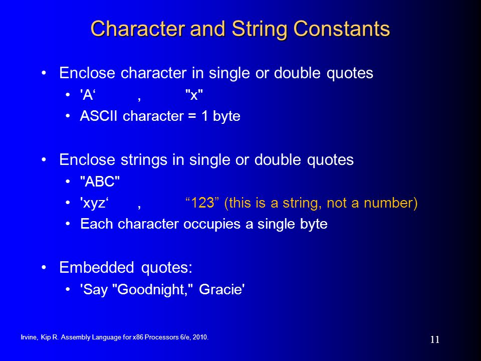 Character and String Constants
