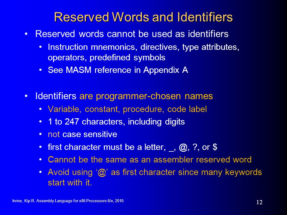 Reserved Words and Identifiers