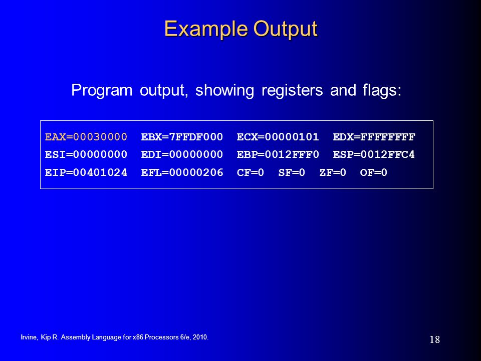 Program output, showing registers and flags: