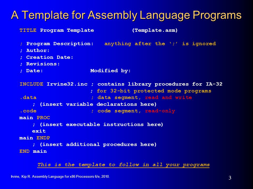 A Template for Assembly Language Programs