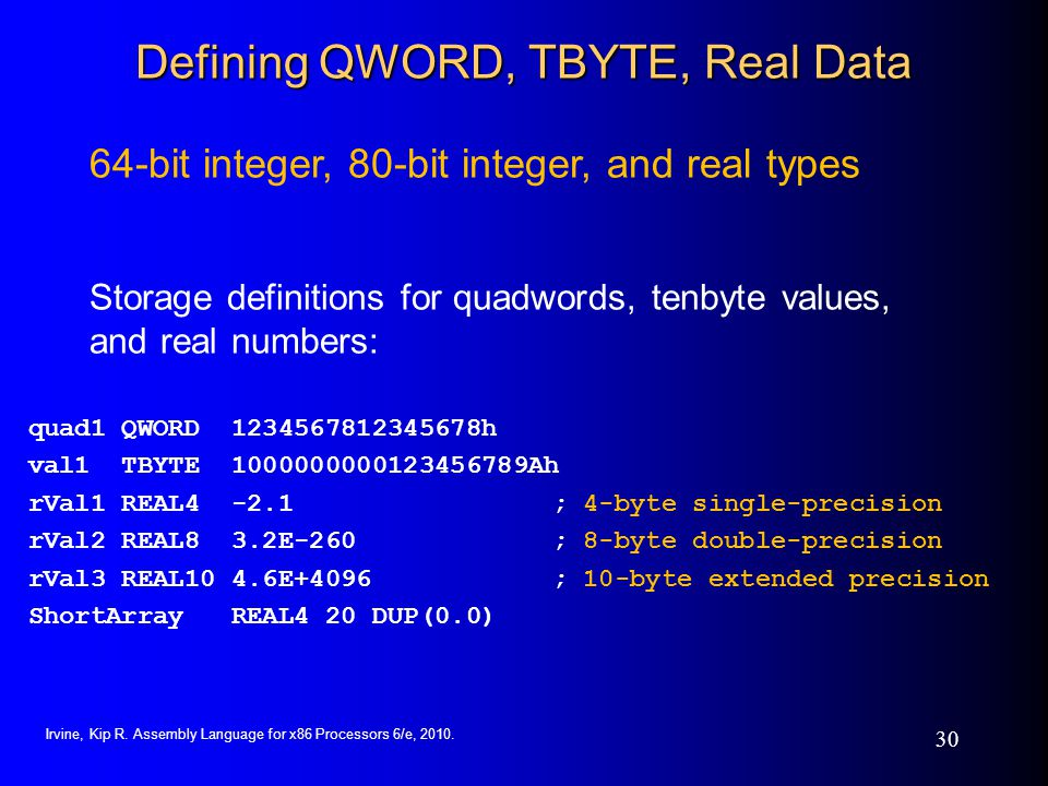 Defining QWORD, TBYTE, Real Data