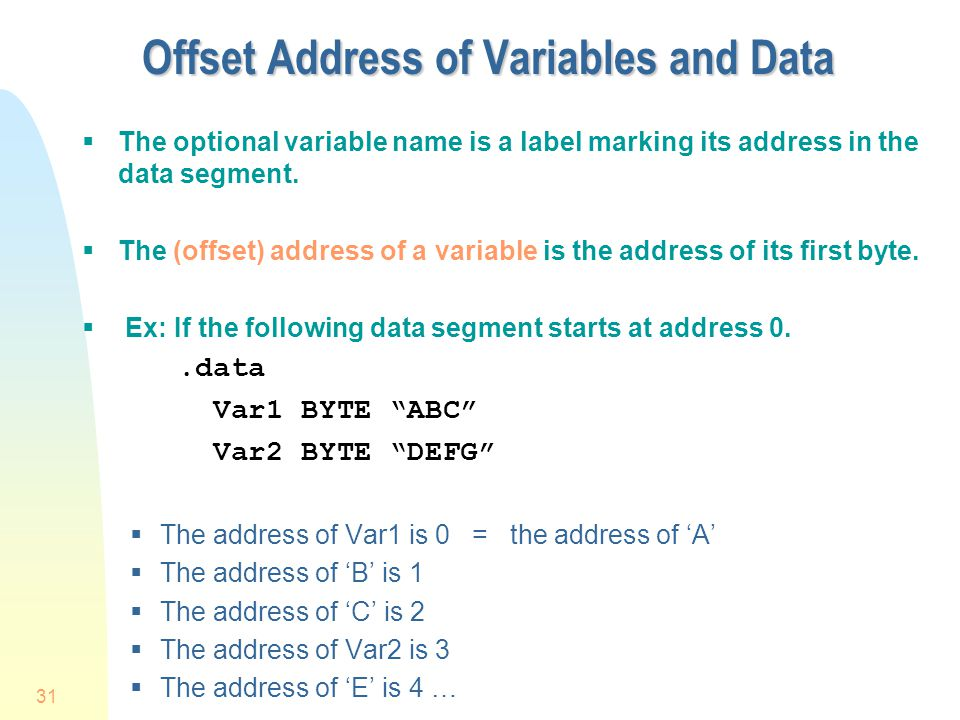 Offset Address of Variables and Data