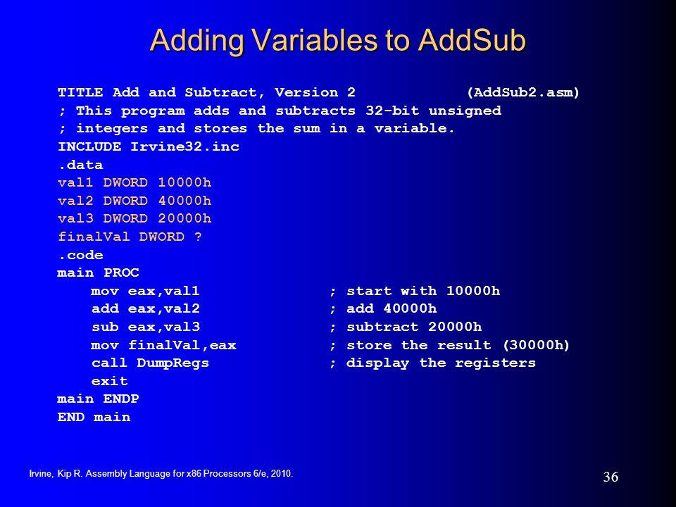 Adding Variables to AddSub