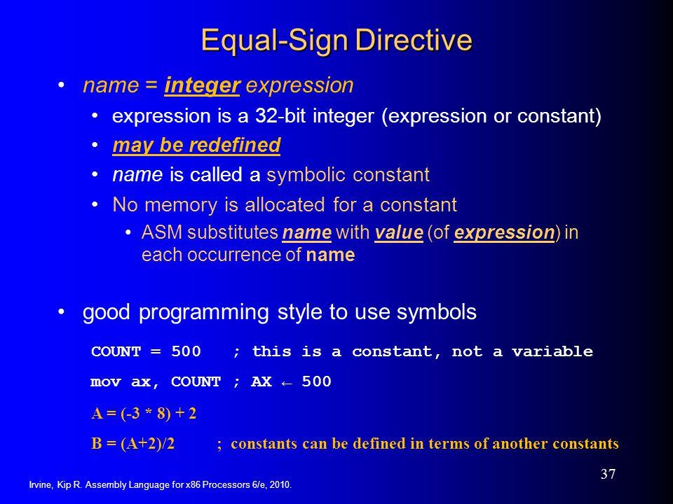 Equal-Sign Directive name = integer expression