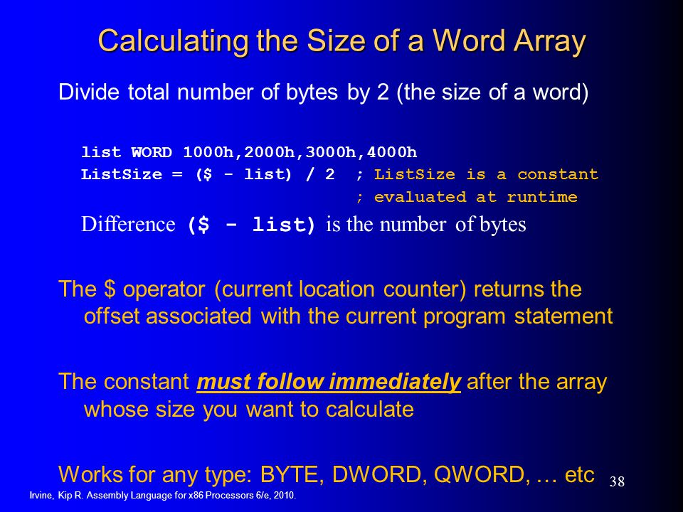 Calculating the Size of a Word Array