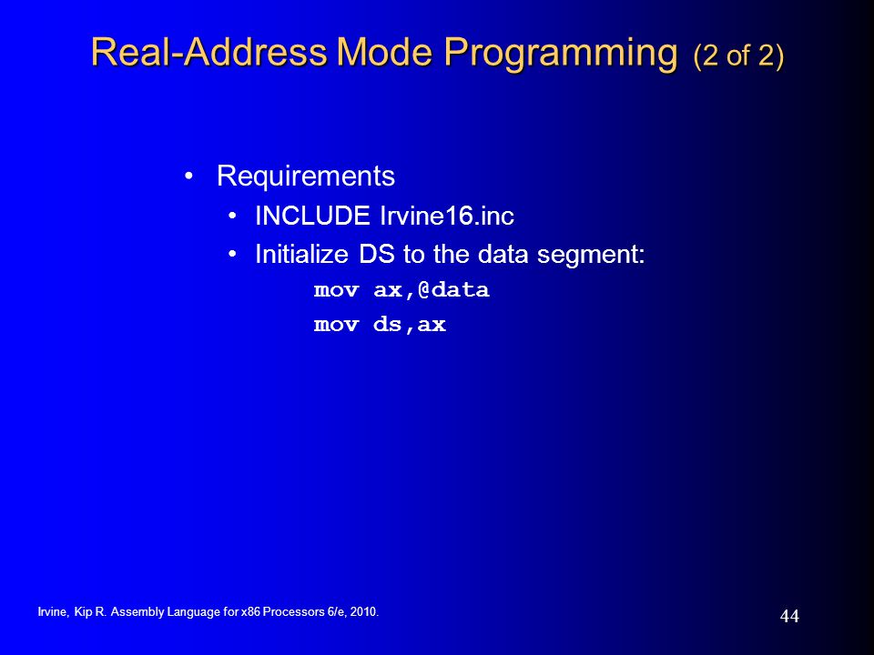 Real-Address Mode Programming (2 of 2)