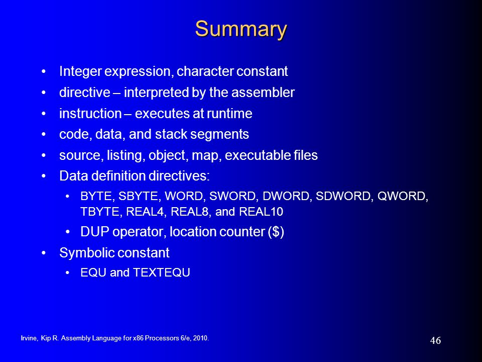 Summary Integer expression, character constant