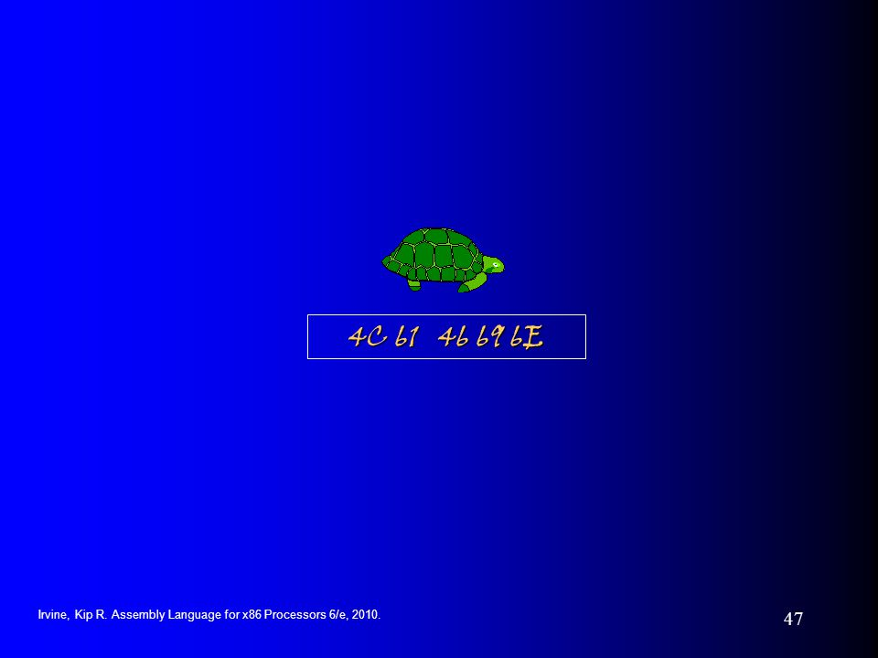 4C 61 46 69 6E Irvine, Kip R. Assembly Language for x86 Processors 6/e, 2010.