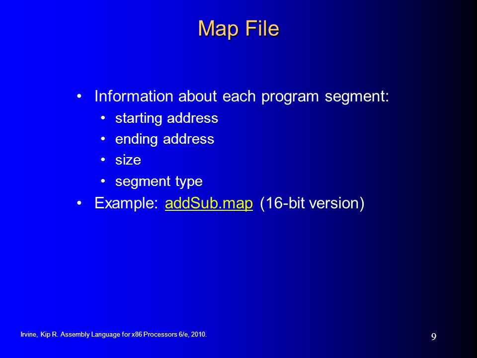 Map File Information about each program segment: