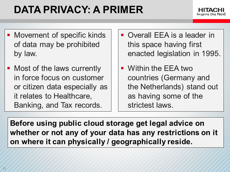 Data privacy: A Primer Movement of specific kinds of data may be prohibited by law.