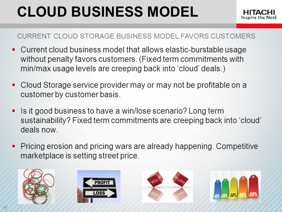 Cloud business model Current cloud storage business model favors customers.
