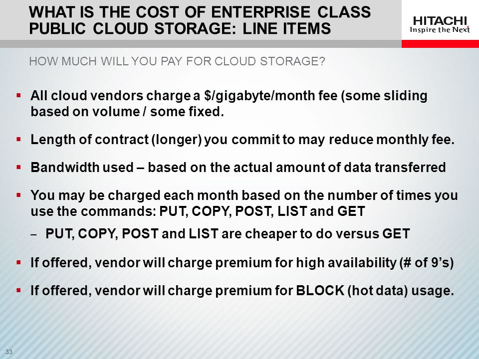 What is the cost of ENTERPRISE CLASS public cloud storage: Line items
