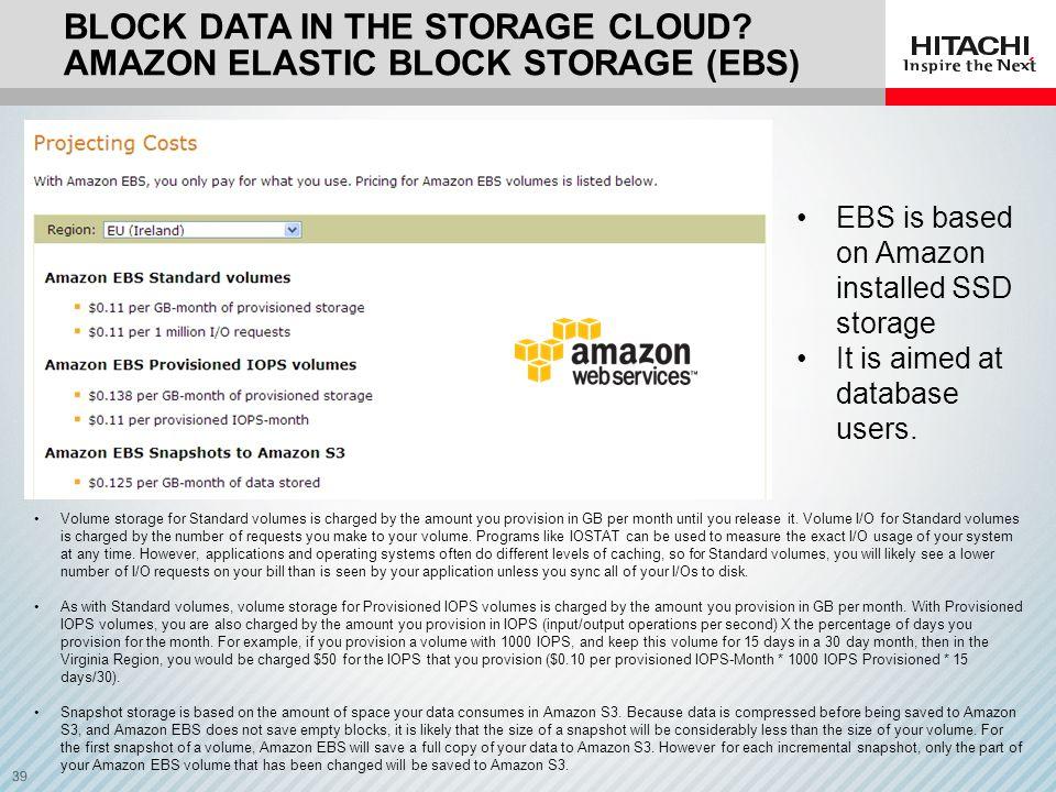 Block data in the storage Cloud Amazon elastic block storage (EBS)