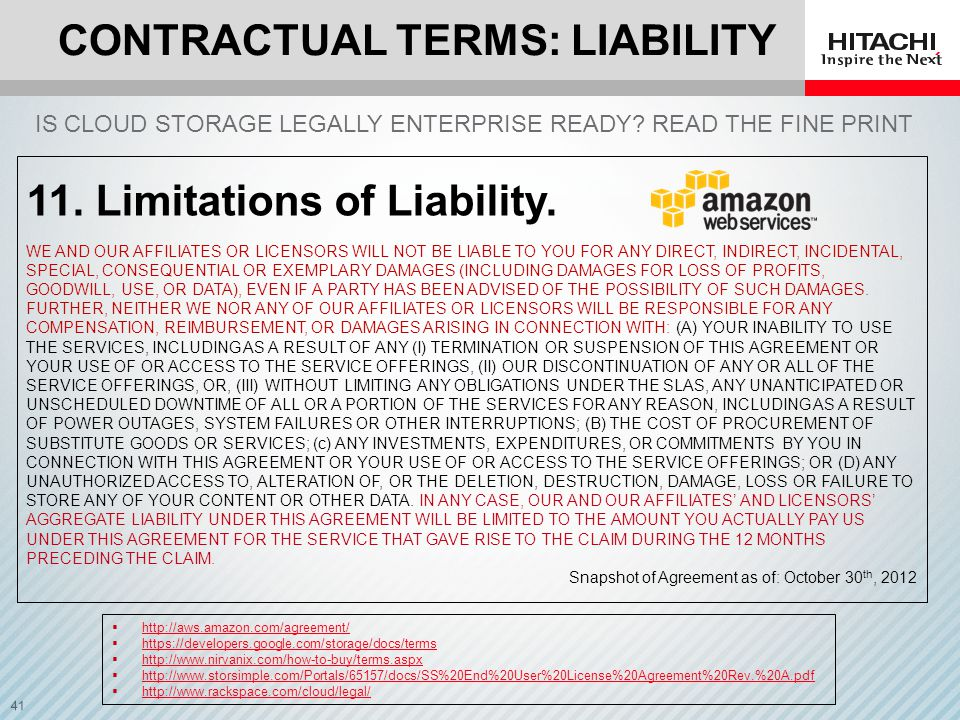 Contractual Terms: Liability