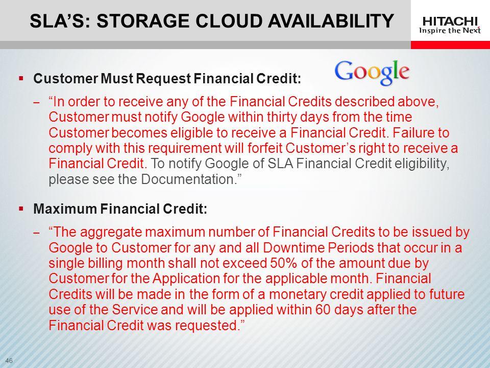 SLA's: Storage Cloud Availability