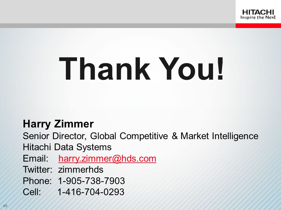 Thank You! Harry Zimmer. Senior Director, Global Competitive & Market Intelligence. Hitachi Data Systems.
