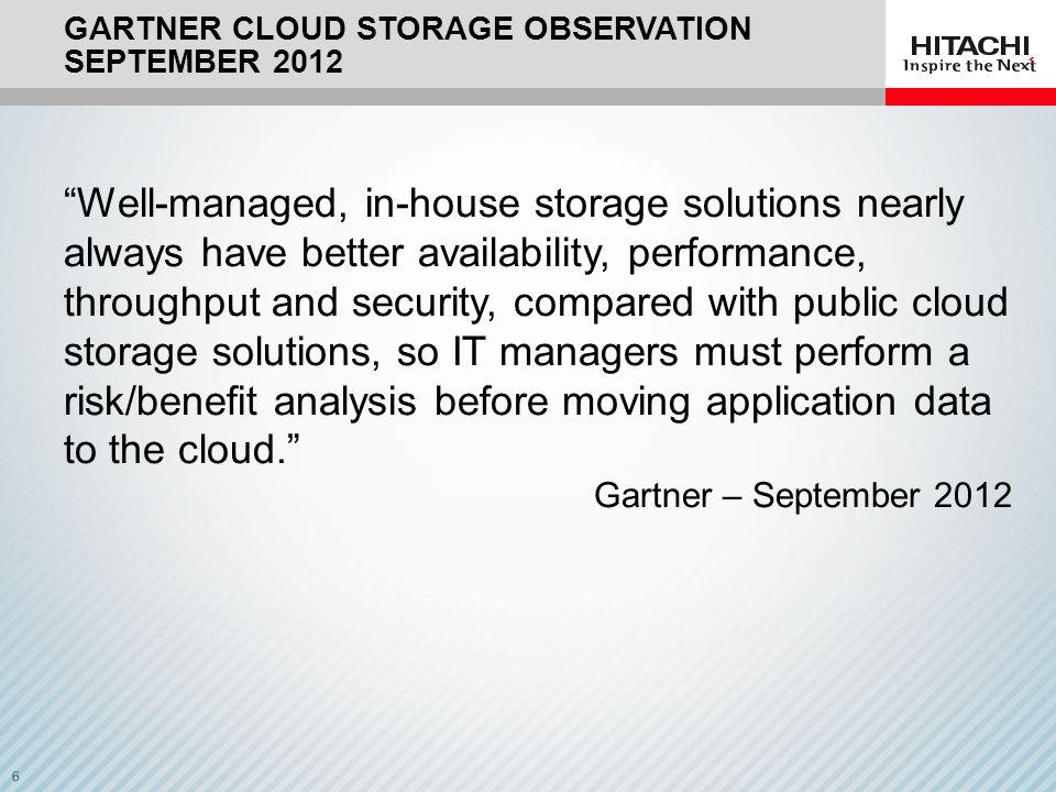 Gartner CLOUD Storage Observation September 2012