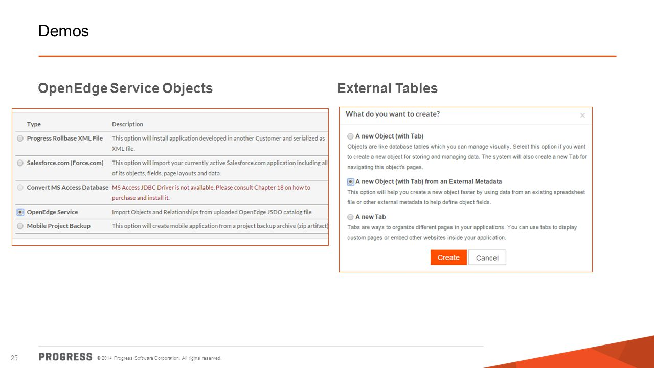 Demos OpenEdge Service Objects External Tables