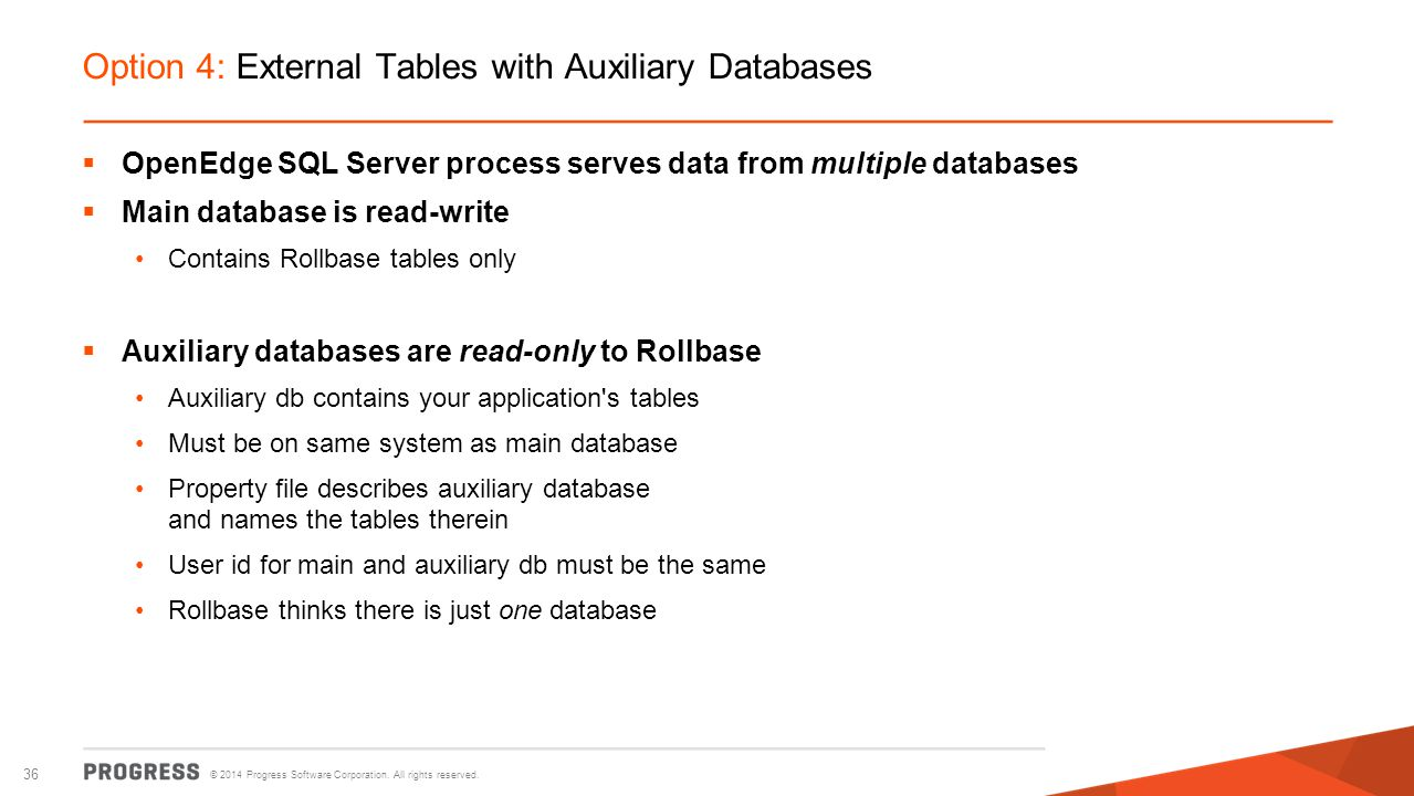 Option 4: External Tables with Auxiliary Databases