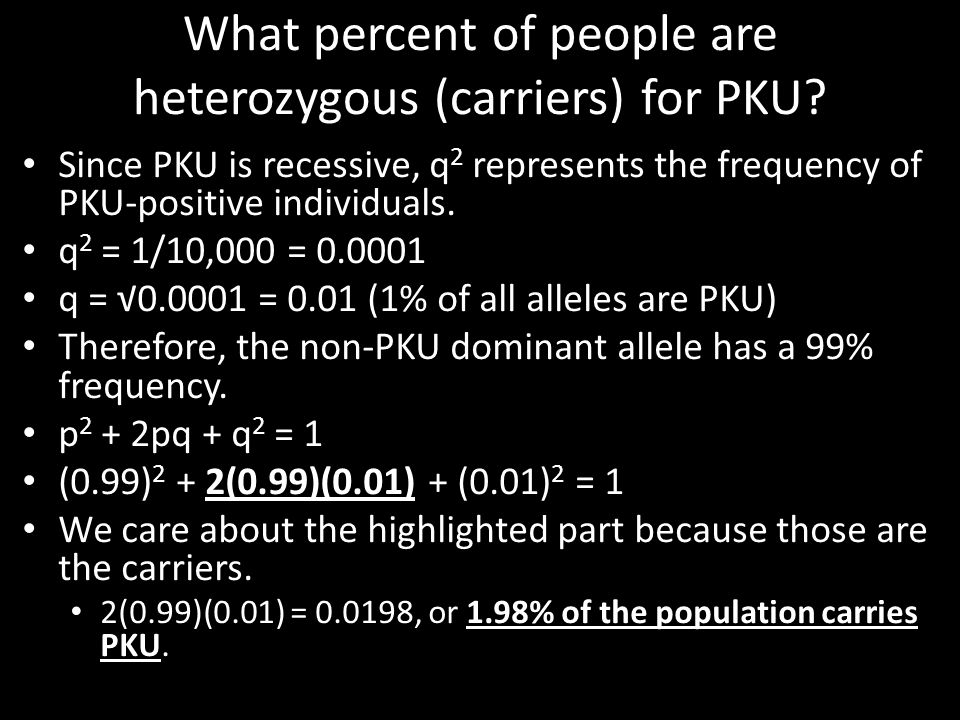 What percent of people are heterozygous (carriers) for PKU