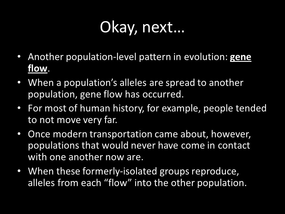 Okay, next… Another population-level pattern in evolution: gene flow.