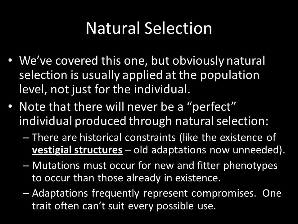 Natural Selection We've covered this one, but obviously natural selection is usually applied at the population level, not just for the individual.