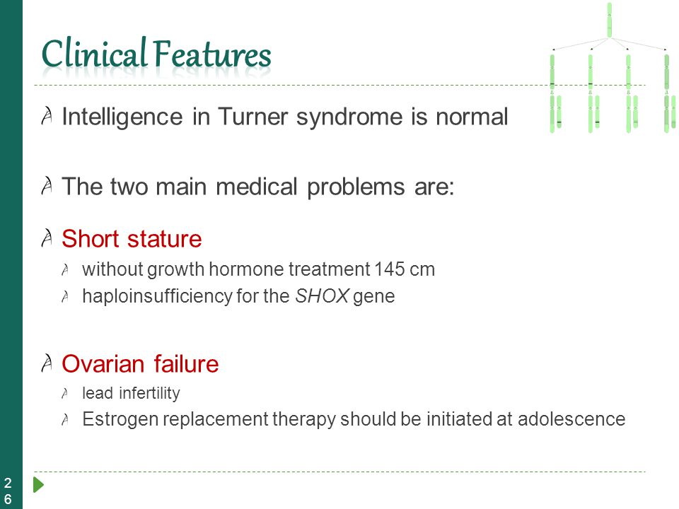 Clinical Features Intelligence in Turner syndrome is normal