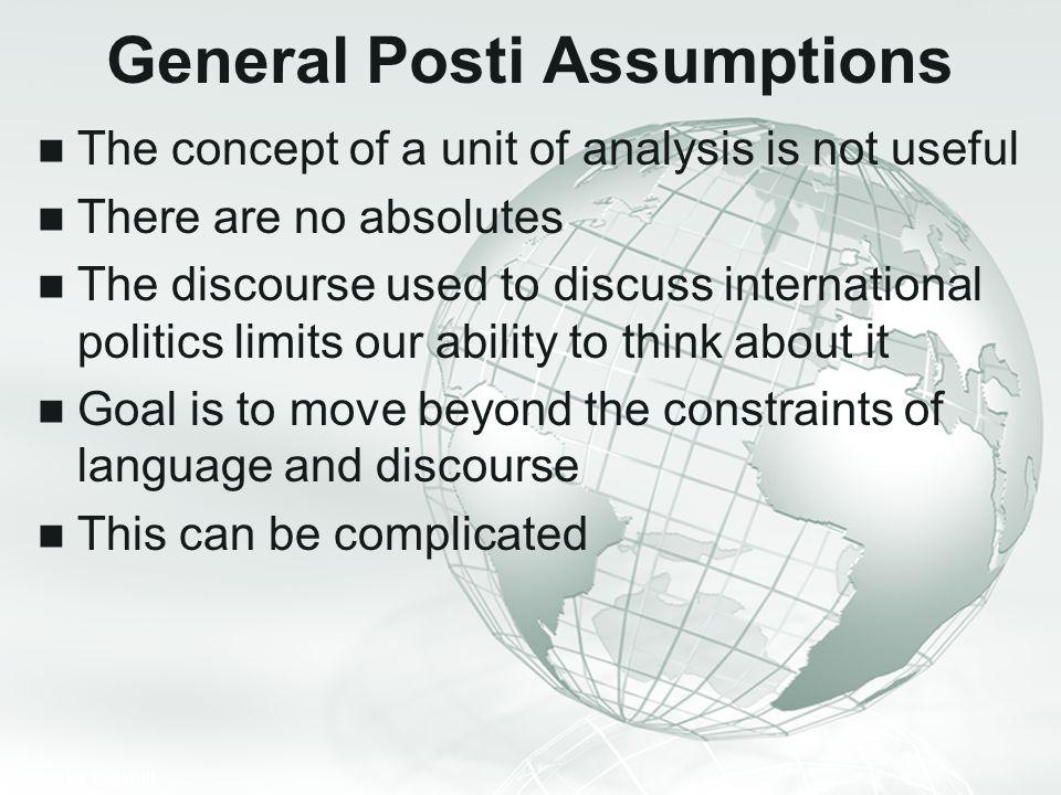 General Posti Assumptions