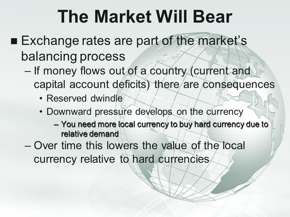 The Market Will Bear Exchange rates are part of the market's balancing process.