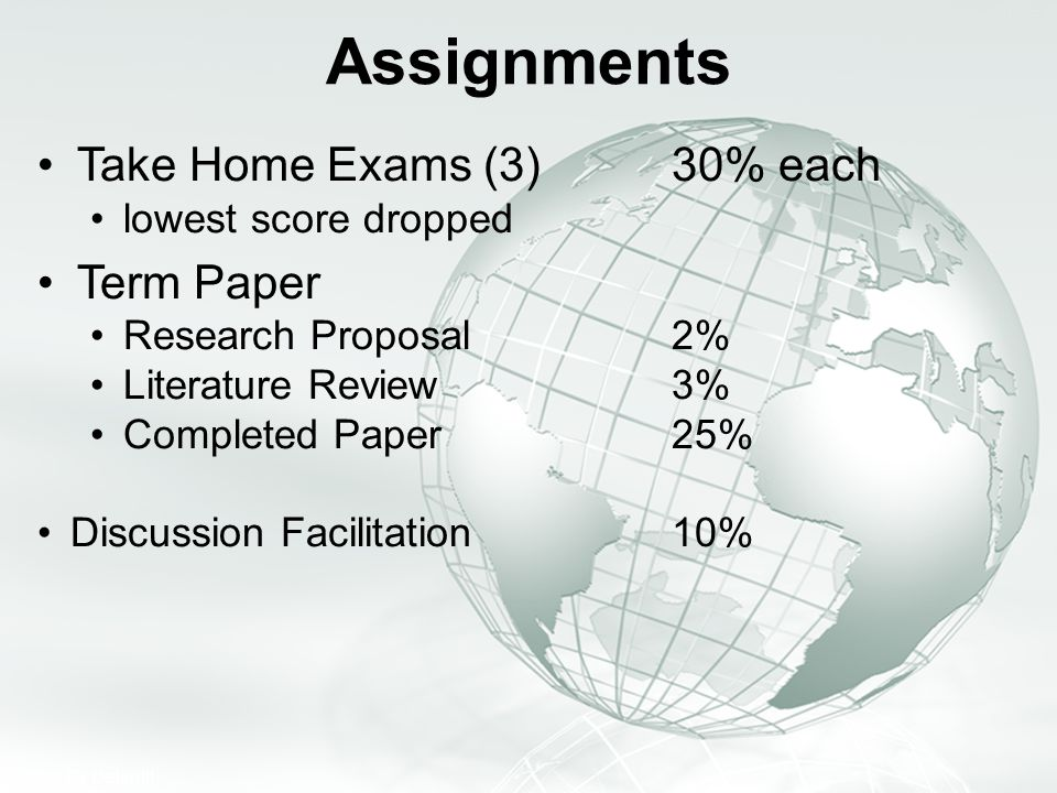 Assignments Take Home Exams (3) 30% each Term Paper