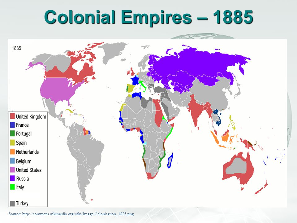 Colonial Empires – 1885 Source: http://commons.wikimedia.org/wiki/Image:Colonisation_1885.png