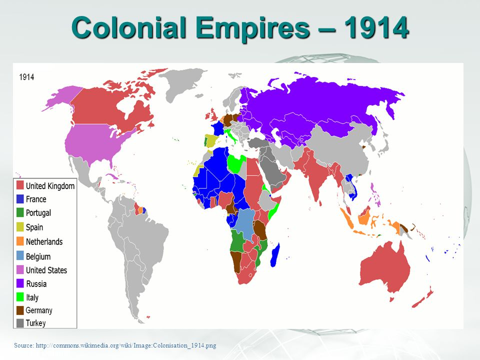 Colonial Empires – 1914 Source: http://commons.wikimedia.org/wiki/Image:Colonisation_1914.png