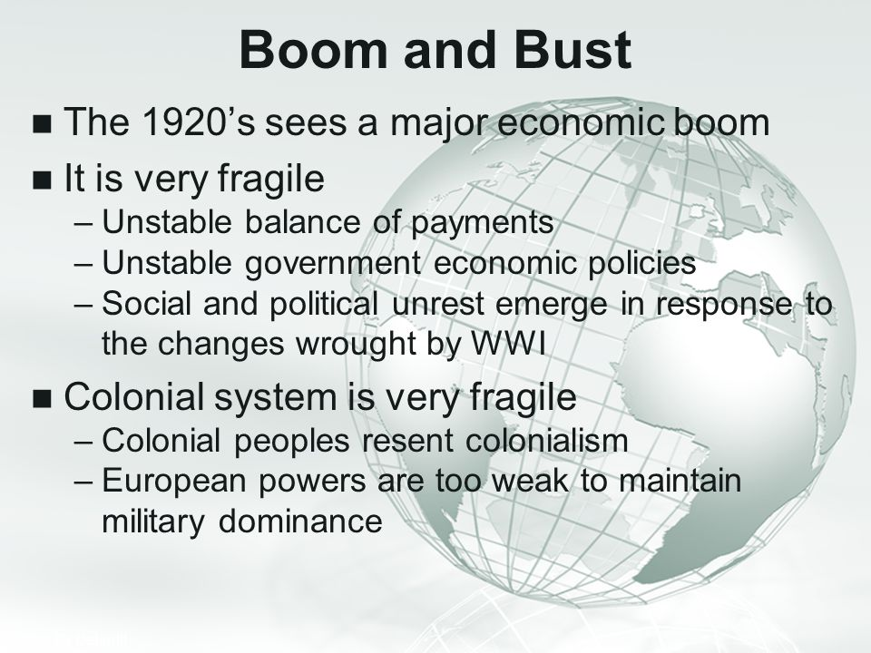 Boom and Bust The 1920's sees a major economic boom It is very fragile