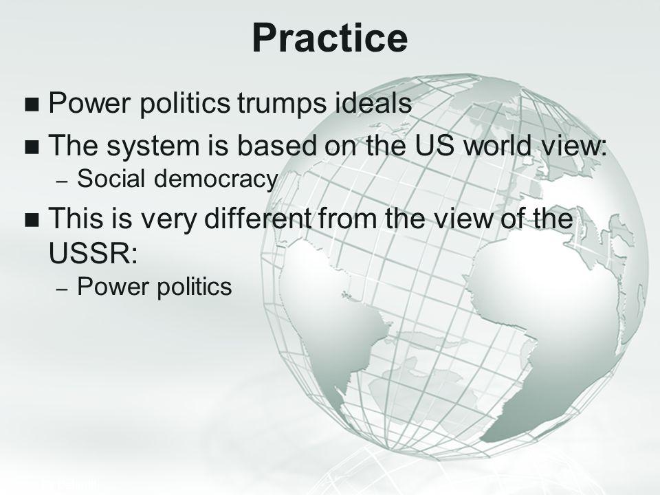 Practice Power politics trumps ideals