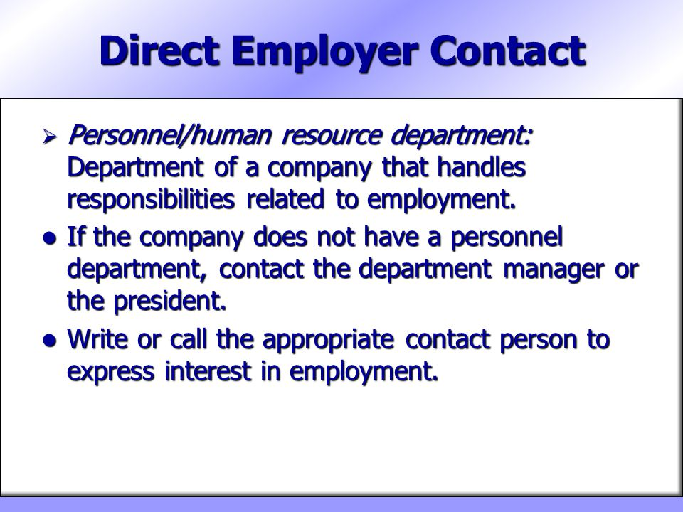 Direct Employer Contact