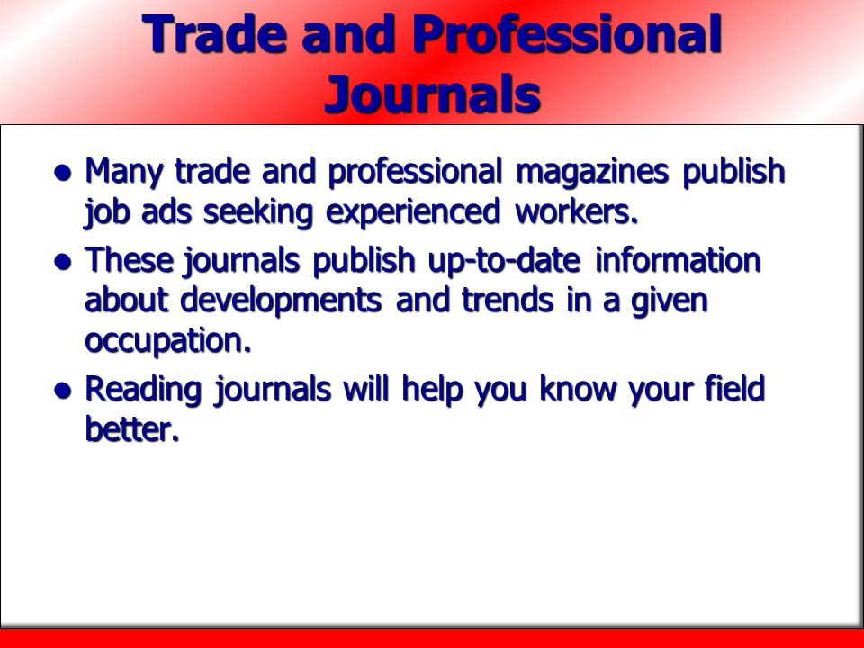 Trade and Professional Journals