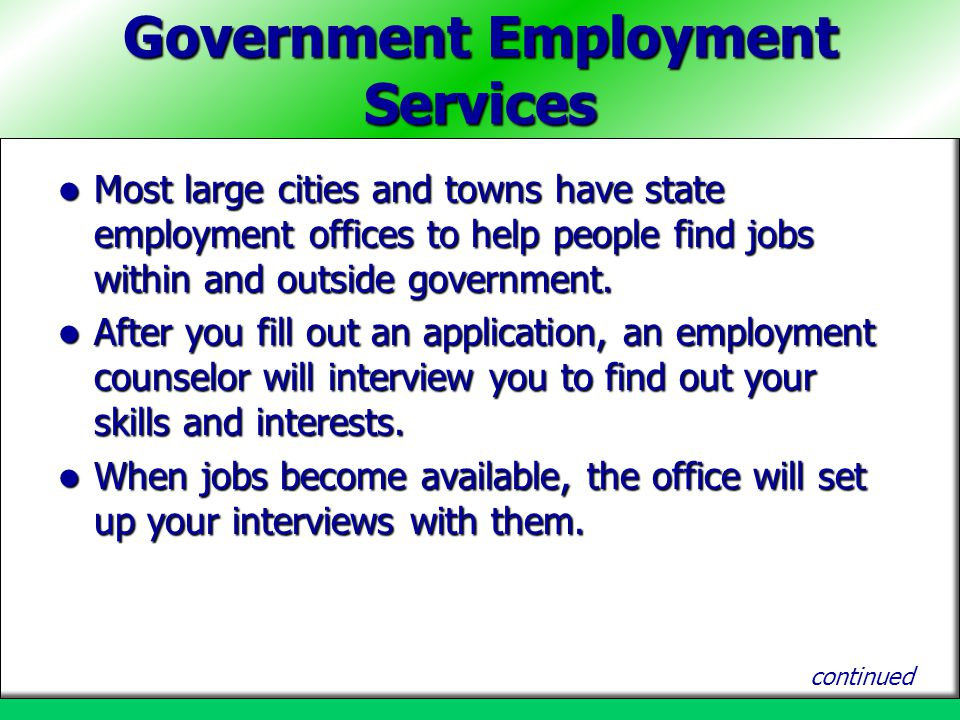 Government Employment Services