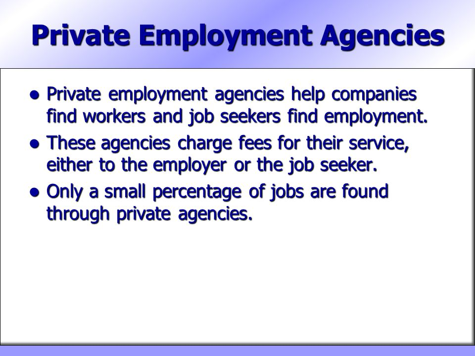Private Employment Agencies