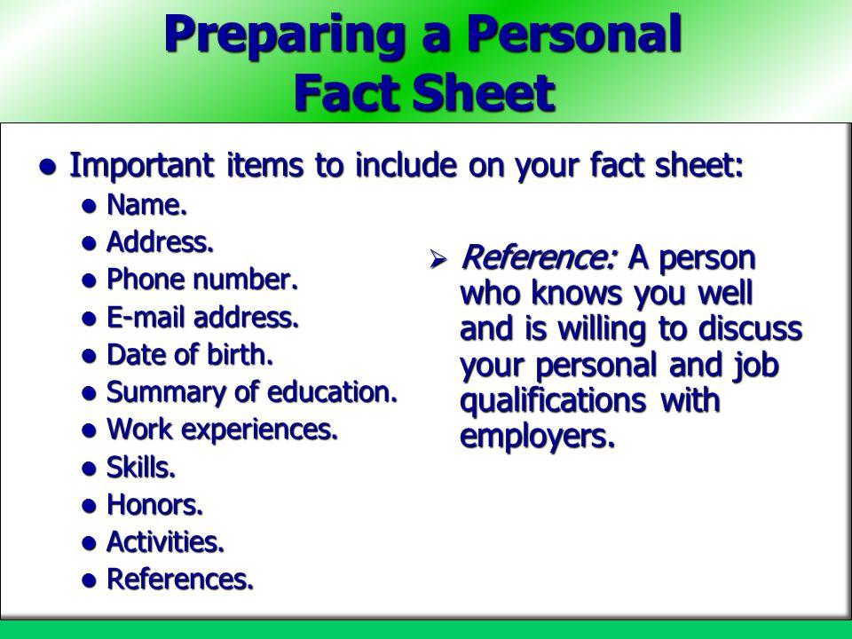 Preparing a Personal Fact Sheet