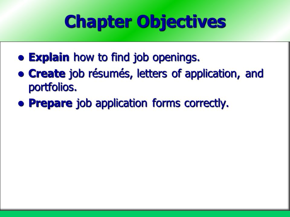 Chapter Objectives Explain how to find job openings.