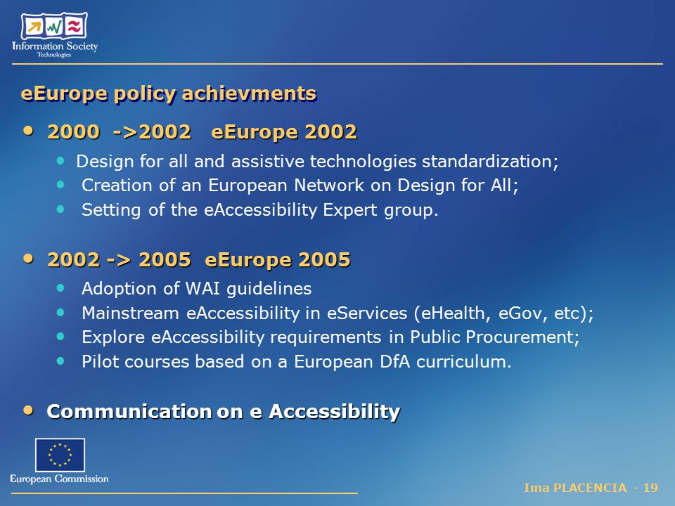eEurope policy achievments