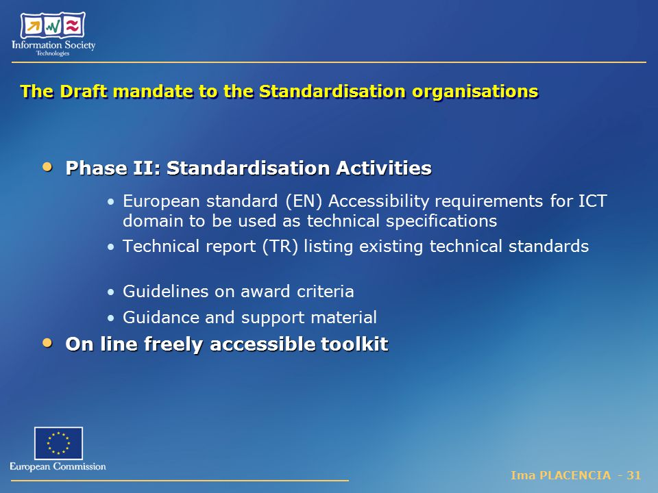 The Draft mandate to the Standardisation organisations